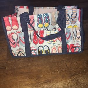 Small thirty one tote flip flop print